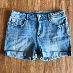 Vigoss Midi Slightly Distressed Jean Shorts